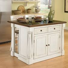Home Styles Monarch 3 Piece Granite Top Kitchen Island Stool Set
