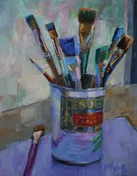 oil painting of paint brushes in an english pea can