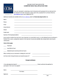 Mock Application Form Fillable Online Ocba Elementary Mock Trial Application Form