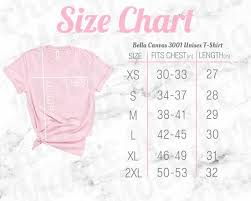 Bella Canvas Size Chart Mockup 3001 Unisex Crewneck Pink T Shirt Pink Text And White Marble Background