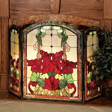 yvette decorative fl stained glass fireplace screen yvette fireplace screen touch to zoom