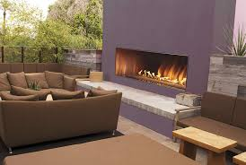 outside gas fireplace linear