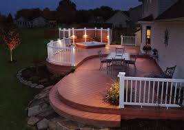 charming outdoor patio lighting ideas for deck patio with white deck railing