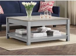 square rustic coffee table with storage oak gray wood living room industrial