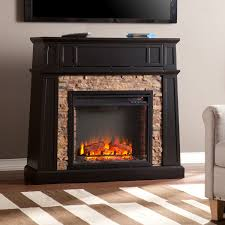 fitzgerald black faux stone electric media fireplace