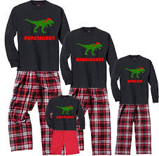 image 0 Personalized DINO Family Christmas Pajamas for Adults | Etsy