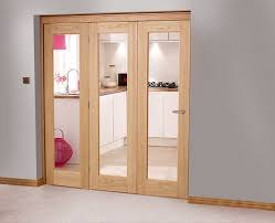 Simple Walnut And Glass Closet Bifold Doors Sliding with 3 ...