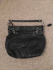coach handbag black leather used large satchel