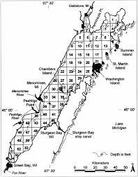 Sampling Grid For Green Bay Lake Michigan Depths Are In