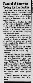 Funeral at Parowan Today for Ida Orton Burton - Newspapers.com
