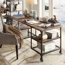 com tribecca home nelson modern rustic storage desk cell phones accessories