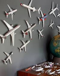 model airplane covered wall aviation themed furniture