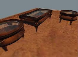 Coffee Table, 2 End Tables  Wood With Etched Glass.  8466b87fa016e8144662017ec439116d
