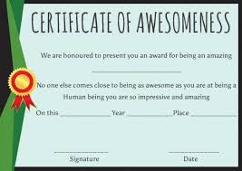 Certificate Of Awesomeness Template Certificate Of Awesomeness Template Certificates Certificate Of