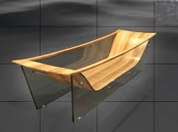 wood and glass bathtub
