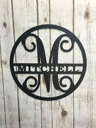 personalized metal signs vine monogram