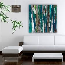 ... Teal Blue Abstract Wall Art For Living Room Canvas Large Landscape  Oversized Office Bedroom Hanging Decoration ...
