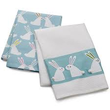 easter bunny dish towels set of two