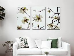 three panel gallery wrapped canvas white magnolia wall art decor intended for magnolia wall art prepare  on magnolia canvas wall art with three panel gallery wrapped canvas white magnolia wall art decor
