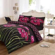 poppy super king duvet set 2 colour options black pink
