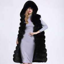 2018 full leather fox fur vests medium long women s fur coat with a hood thick warm fur long length sleeveless hot vest from sunshine