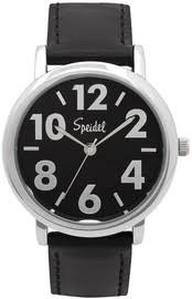 speidel bold numbers men s watch stainless steel blue face speidel bold numbers men s watch stainless steel black face leather band black