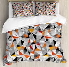 geometric duvet cover set polygonal pattern checd design triangles and lines pattern modern art decorative bedding set with pillow shams orange black