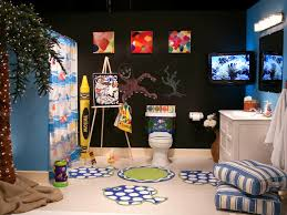 ... Marvellous Kids Bathroom Ideas Art For Children's Bathroom Black Wall  Tv Pillow Rug Shaped ...