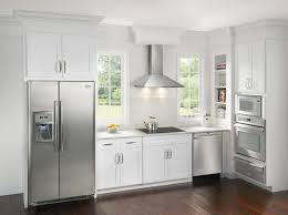 white fridge in kitchen. design fridge white kitchen cabinets color contrasts in e