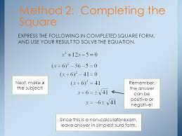 8 method 2 completing the square