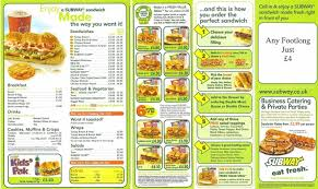 Subway Printable Menu World Of Menu And Chart In Subway