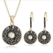 details about handmade round black onyx cat s eye 18k yellow golde plated pendant earrings set