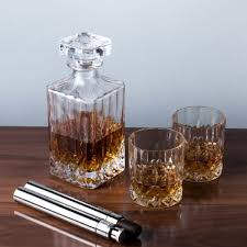 crystal glass liquor decanter and tumbler set