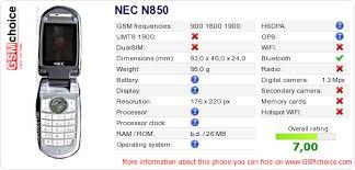 NEC N850 :: GSMchoice.com