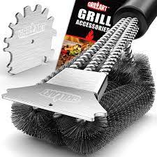 Amazon Com Grillart Grill Brush And Scraper 18 Inch Wire Bristle Brush Double Scrapers Barbecue Cleaning Brush For Gas Charcoal Grilling Grates Universal Fit Bbq Grill Accessories Kitchen Dining