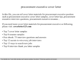 Executive Cover Letters Samples Procurement Executive Cover Letter