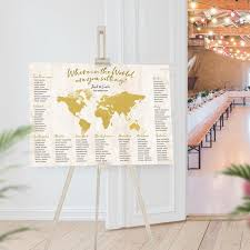 Map Seating Chart Wedding World Map Seating Chart Gold Travel Theme Where In The World Are You Sitting Wedding Guest Arrangement Table Plan Destination Custom