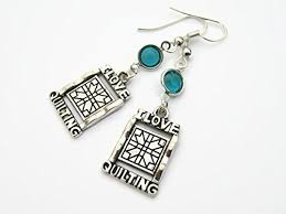 quilters birthstone earrings sewing earrings i love quilting earrings personalized quilter jewelry gift