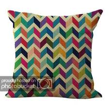 Shop ChezMax Linen Blend Abstract <b>Colorful Geometry Pattern</b> ...