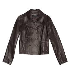 dark brown soft leather cropped jacket with small lapel front patch pockets and back belt