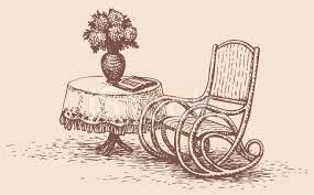 rocking chair drawing. Vector Drawing Comfortable Rocking Chair Near Round Table