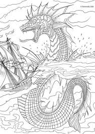 Sea Monster Printable Adult Coloring Page From Favoreads Coloring