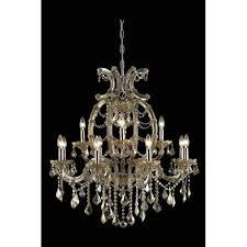 elegant lighting maria theresa royal cut crystal golden teak 12 light 35 4 in chandelier