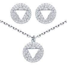 925 sterling silver nickel free rhodium plated set cutout triangle on cubic zirconia disk