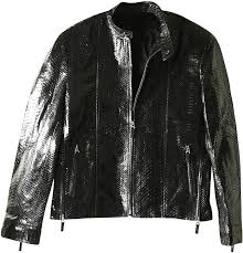 genuine python snake leather jacket snjacket03pt black