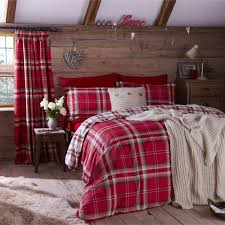 catherine lansfield bedding set cotton chequered red cream for king size beds co uk kitchen home