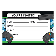 Photo Party Invitations Video Game Party Invitations 8 Pack