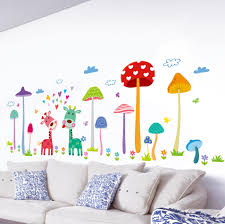 forest mushroom deer home wall art mural decor kids babies room nursery lovely animals family wallpaper decoration decal wall applique adhesive wall art
