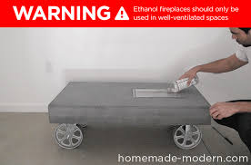 this modern concrete fireplace doubles as a coffee table on wheels i used quikrete 5000