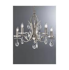 franklite willow 5 light chandelier satin nickel for at lichfield lighting